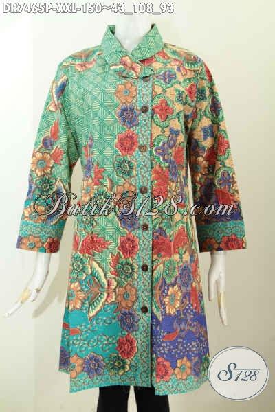 Baju Batik Dress Solo Kerah Miring, Pakaian Batik Wanita Gemuk Motif Bunga Proses Printing Hanya 150K [DR7465P-XXL]