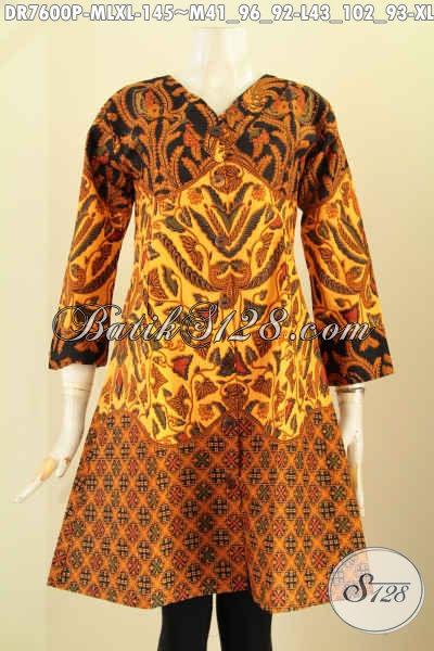 Baju Dress Batik Motif Klasik, Pakaian Batik Wanita Masa Kini Buatan Solo Asli Desain Kerah V, Penampilan Lebih Sempurna [DR7600P-M]
