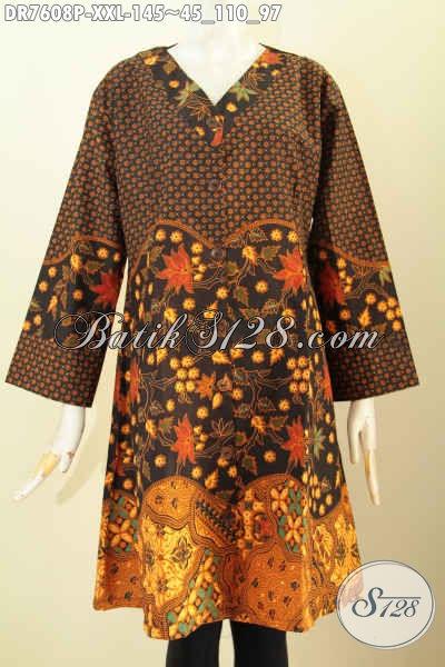 Dress Batik Wanita Gemuk, Busana Batik Big Size Model Kerah V Motif Klasik Printing, Cocok Untuk Seragam Kerja Dan Busana Kondangan [DR7608P-XXL]