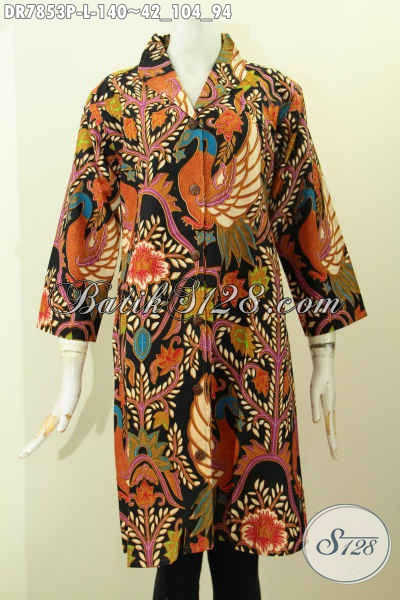 Baju Dress Solo Terkini, Pakaian Batik Modis Kerah Langsung Bahan Adem Motif Mewah Proses Printing Hanya 140 Ribu [DR7853P-L]