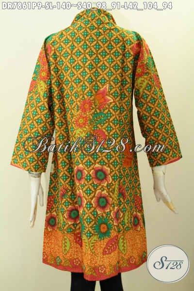 Jual Baju Dress Batik Kerah Langsung, Busana Batik Jawa Terkini Kwalitas Bagus Dan Istimewa Untuk Penampilan Yang Lebih Sempurna [DR7861P-S]