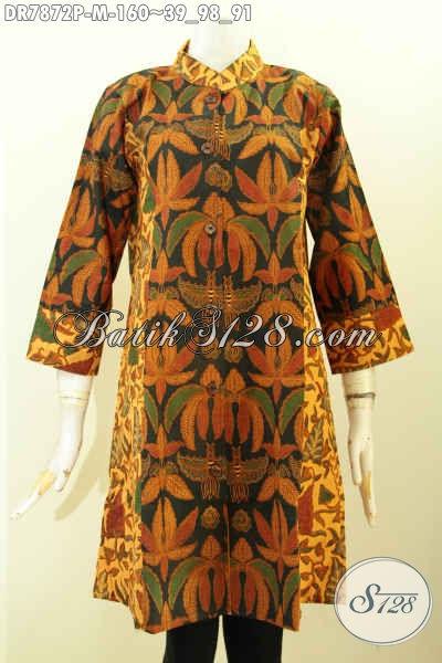 Baju Baitk Wanita Muda, Dress Batik Modis Halus Kombinasi 2 Motif Model Krah Shanghai, Cocok Untuk Acara Rresmi [DR7872P-M]