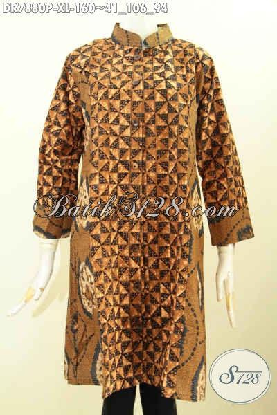 Sedia Baju Batik Wanita Modis Harga 160K, Dress Batik Elegan 2 Motif Klasik Proses Printing Kwalitas Istimewa, Cocok Untuk Ke Kantor Dan Kondangan [DR7880P-XL]