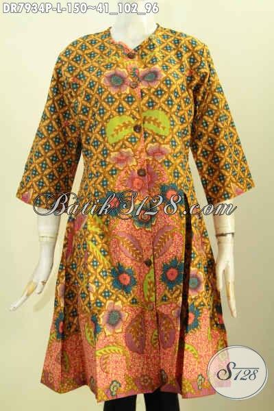 Jual Online Batik Dress Keren Modis Ukuran L Baju Batik Terusan