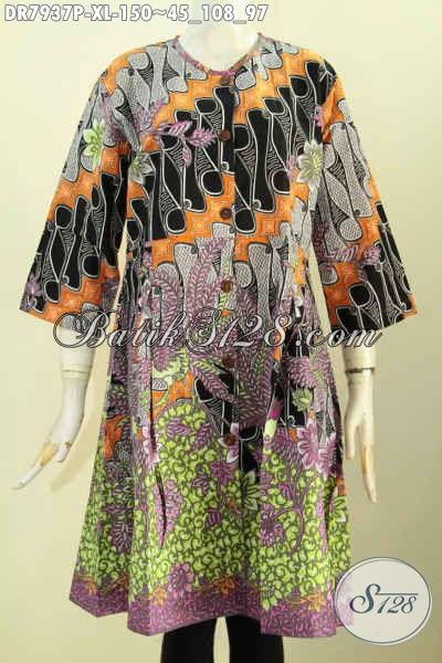 Baju Dress Keren Tanpa Krah, Busana Batik Wanita Terkini Motif Bagus Kancing Depan Kwalitas Istimewa Hanya 100 Ribuan, Tampil Mempesona [DR7937P-XL]