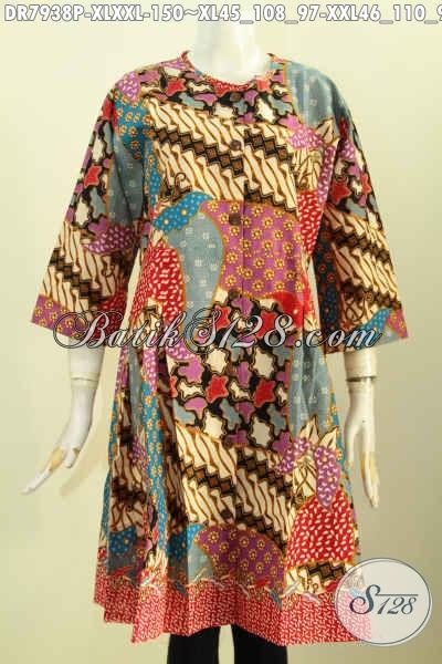Aneka Baju Batik Kerja Wanita Dewasa, Busana Batik Terusan Tanpa Krah Bahan Adem Motif Mewah Proses Printing Di Lengkapi Kancing Depan Trend Mode 2020 [DR7938P-XL]