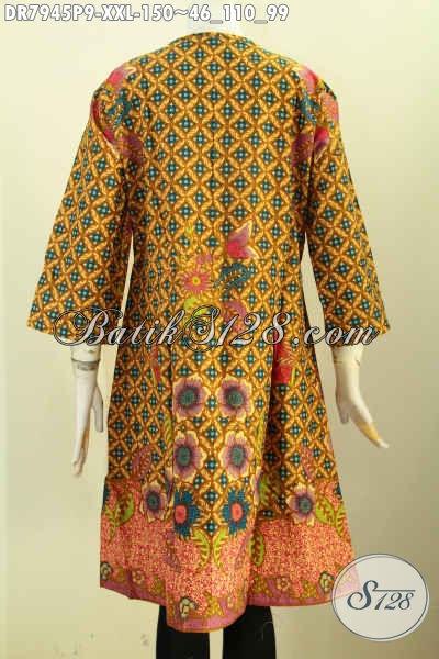 Baju Dress Batik Elegan Proses Printing, Busana Batik Jawa Tengah Eksklusif Buat Wanita Gemuk Tampil Gaya Dan Menawan [DR7945P-XXL]