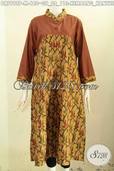 Dress Batik Motif Kembang Kanthil, Baju Batik Printing Desain Panjang Dengan Kombinasi Kain Polos Pake kancing Depan, Tampil Elegan Berkelas [DR7999P-M]