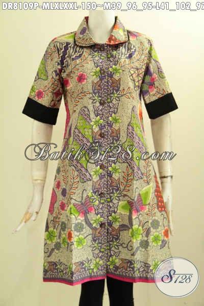 Model Baju Batik Solo Untuk Wanita Kantoran, Dress Krah Bulat Nan Modis Berpadu Plisir Polo Dengan Motif Bagus Printing Hanya 150K [DR8109P-L , XL]