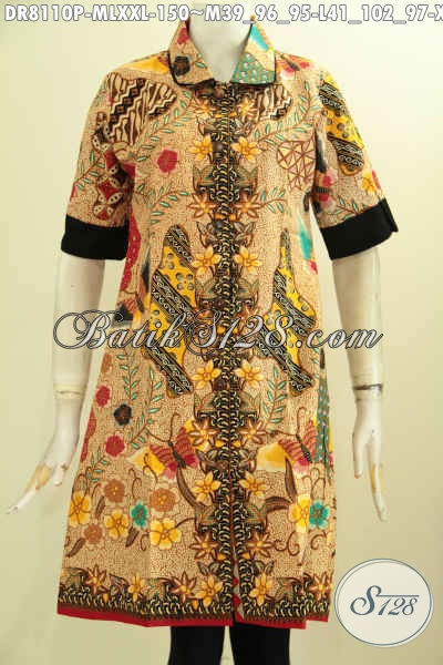 Model Baju Batik Elegan Untuk Seragam Kerja, Dress Batik Solo Modis Krah Bulat Dengan Plisir Polos, Kwalitas Istimewa Harga Biasa [DR8110P-M]