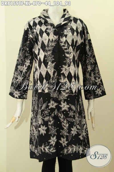 Model Baju Batik Dress Solo Premium Dengan Krah Shanghai, Pakaian Batik Mewah Full Furing Motif Tulis Asli, Penampilan Terlihat Berkelas [DR8159TF-XL]