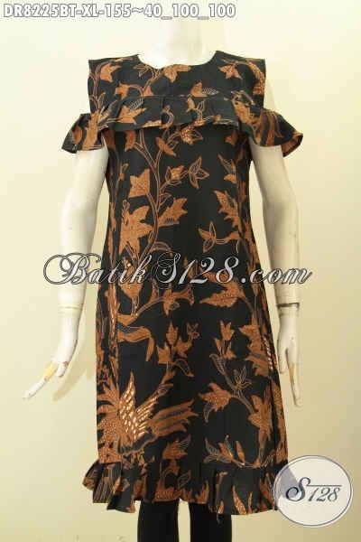 Model Baju Batik Lengan Lobang Dengan Kancing Belakang, Dress Batik Modis Yang Bikin Wanita Terlihat Cantik Dan Anggun [DR8225BT-XL]