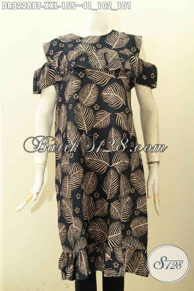 Model Baju Batik Dress Wanita Gemuk, Busana Batik Lengan Lobang Bahan Adem Pakai Kancing Belakang Motif Unik Kombinasi Tulis Hanya 155 Ribu [DR8228BT-XXL]