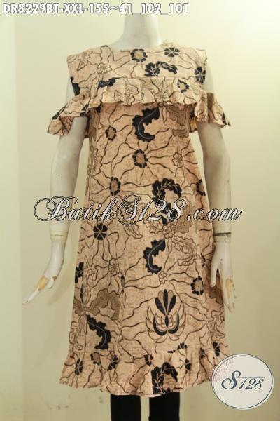 Model Baju Batik Gaul Dan Modis, Dress Batik Wanita Gemuk Lengan Lobang Dan Kancing Belakang, Bahan Adem Motif Bagus Kombinasi Tulis, Cocok Buat Ke Pesta [DR8229BT-XXL]