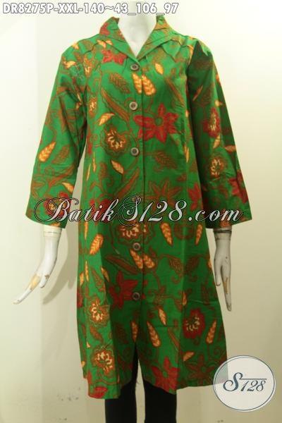 Model Baju Batik Solo 3L, Pakaian Batik Dress Hijau Motif Keren Kwalitas Istimewa Yang Bikin Perempuan Gemuk Cantik Mempesona [DR8275P-XXL]