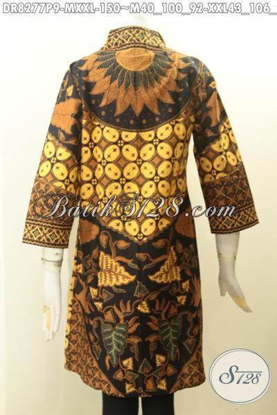 Model Baju Batik Istimewa Untuk Acara Resmi, Aneka Dress Batik Krah Langsung Motif Klasik Nan Elegan Proses Printing Bahan Adem Nyaman Di Pakai Harga 150K [DR8277P-M]
