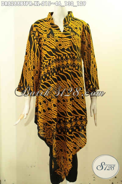 Model Baju Batik Wanita Dewasa Yang Kekinian, Dress Batik Taplak Bahan Paris Motif Bagus Kombinasi Tulis, Cocok Untuk Pesta Dan Jalan-Jalan [DR8288BTPR-XL]