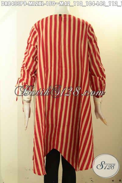 Model Dress Batik Wanita Lengan Bertali Dengan Kancing Belakang Serta Lipat Depan, Busana Batik Trendy Motif Kekinian Proses Printing Bahan Adem Harga 150K [DR8433P-M]