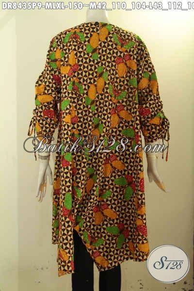 Model Batik Dress Modis Dengan Lipat Depan, Aneka Busana Batik Wanita Keren Bahan Halus Motif Unik Pakai Kancing Belakang Dan Lengan Bertali, Penampilan Makin Gaya [DR8435P-M , L , XL]