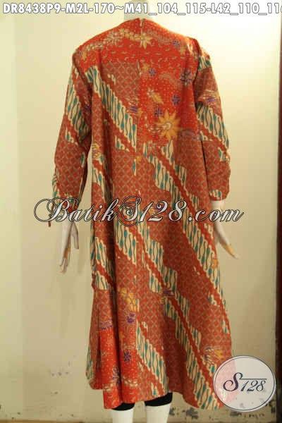 Batik Dress Kombinasi Dengan Pias Depan Lengan Bertali Serta Pakai Resleting Belakanh, Bahan Adem Proses Printing Harga 170 Ribu Saja [DR8438P-M]