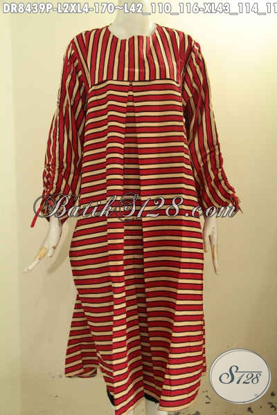 Model Baju Batik Wanita Keren Dengan Motif Garis Proses Printing, Busana Batik Elegan Pias Depan Pakai Resleting Belakang Serta Lengan Bertali, Tampil Anggun Mempesona [DR8439P-L , XL]