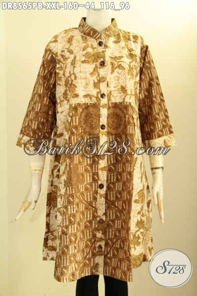 Model Baju Batik Kerah Shanghai Jumbo Lengan 7/8, Pakaian Batik Istimewa Motif Berkelas Proses Printing Cabut Di Lengkapi Kancing Depan, Membuat Penampilan Cantik Dan Anggun [DR8565PB-XXL]