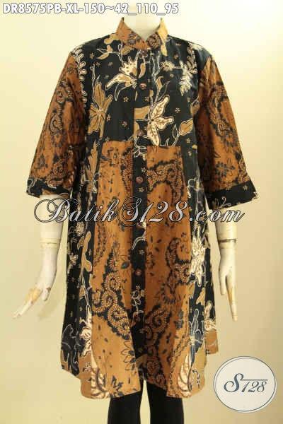 Busana Tunik Batik Dress Krah Shanghai, Pakaian Batik Halus Motif Trendy Dengan Warna Klasik Di Lengkapi Kancing Depan Proses Printing Cabut, Bisa Untuk Acara Santai Dan Resmi [DR8575PB-XL]