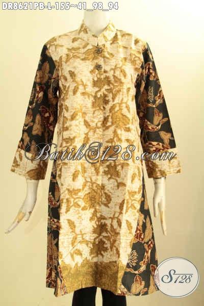 Baju Batik Atassan Perempuan, Busana Batik Trendy Lengan 7/8 Motif Bagus Proses Printing Cabut Di Lengkapi Kerah Shanghai Kancing Depan, Penampilan Makin Mempesona [DR8621PB-L]