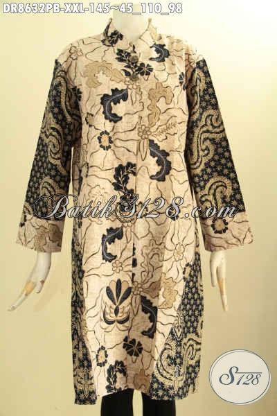 Model Tunik Batik Dress Wanita Berbadan Gemuk, Busana Batik ELegan Lengan 7/8 Dengan Krah Shanghai Dan Pakai Kancing Depan, Tampil Modis Dan Berkelas [DR8632PB-XXL]