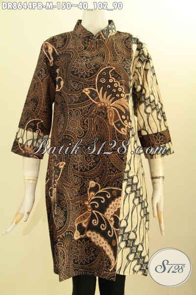 Baju Batik Kombinasi, Tunik Batik Dress Dual Motif Proses Printing Cabut Nan Istimewa, Busana Batik Kerah Shanghai Resleting Belakang Lengan 7/8 Harga Terjangkau