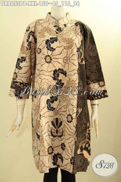 Aegn Baju Batik Solo Online Paling Up To Date, Sedia Tunik Batik Dress Kerah Shanghai Lengan 7/8 Resleting Belakang Di Lengkapi Kantong Dalem, Exclusive Untuk Wanita Gemuk