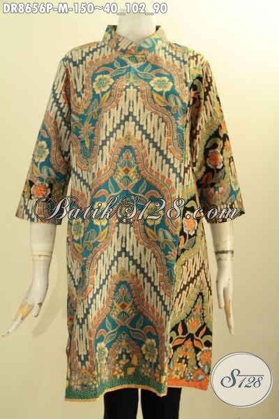 Batik Dress Solo Terbaru Model Lengan 7/8 Kerah Shanghai Resleting Belakang, Pakaian Batik Kekinian Bahan Halus Motif Klasik Di Lengkapi Saku Dalam