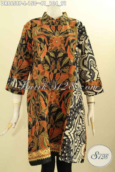 Tunik Batik Dress Solo Jawa Tengah Nan Istimewa, Produk Baju Batik Elegan Kerah Shanghai Lengan 7/8 Kantong Dalam Untuk Penampilan Lebih Mempesona