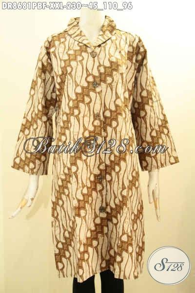 Baju Batik Dress Elegan Motif Klasik Model Kerah Langsung, Busana Batik Wanita Gamuk Untuk Tampil Anggun Berkelas Daleman Full Tricot [DR8681PBF-XXL]