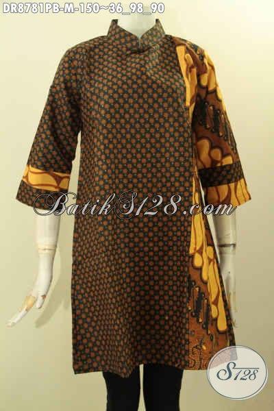 Batik Dress Elegan Kerah Shanghai, Busana Batik ELegan Desain Mewah Di Lengkapi Resleting Belakang Lengan 7/8 Motif Belakang Sama Dengan Depan Kanan [DR8781PB-M]