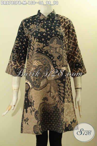 Pakaian Batik Perempuan Terkini Yang Membuat Penampilan Lebih Mempesona, Dress Batik Solo Nan Istimewa Lengan 7/8 Dengan Kerah Shanghai Dan Resleting Belakang Tren Model Kekinian [DR8783PB-M]