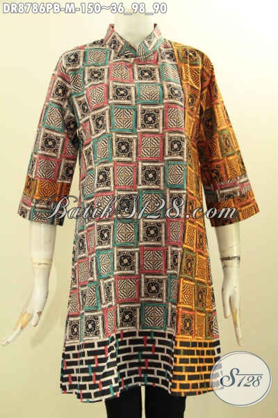 Model Busana Batik Solo Jawa Tengah Lengan 7/8 Dengan Kerah Shanghai Dan Resleting Belakang, Pakaian Batik Kerja Wanita Karir Untuk Penampilan Cantik Elegan [DR8786PB-M]