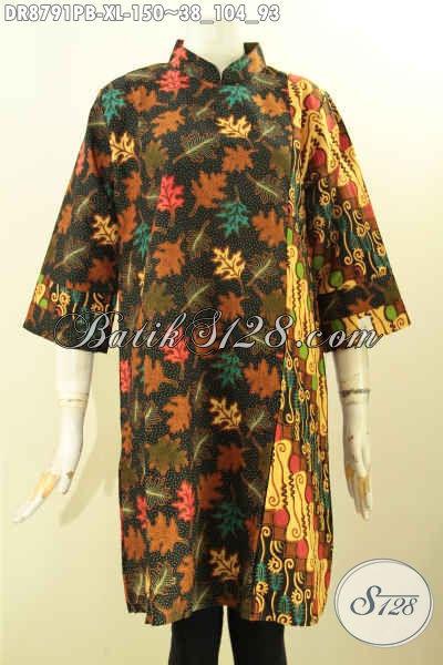 Baju Batik Solo Jawa Tengah Nan ELegan Dan Mewah, Batik Dress Kerah Shanghai Lengan 7/8 Resleting Belakang Bahan Halus Hanya 100 Ribuan Saja [DR8791PB-XL]