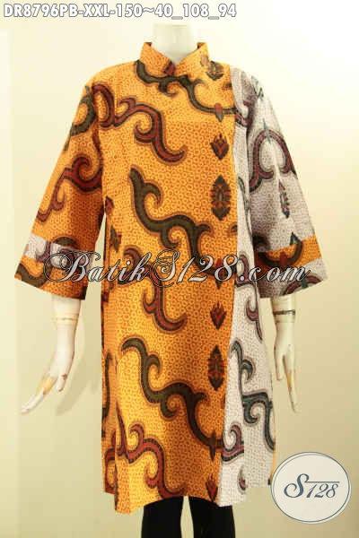 Busana Batik Dress Dual Motif, Batik Kerja Wanita Gemuk Lengan 7/8 Kerah Shanghai Halus Dengan Resleting Belakang, Penampilan Lebih Modis [DR8796PB-XXL]