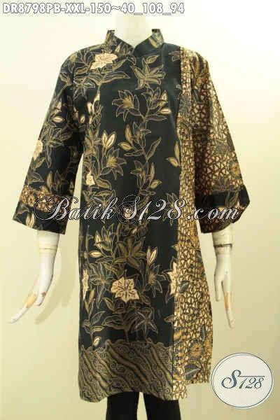 Jual Online Batik Dress Solo Asli, Busana Batik Modern Lengan 7/8 Motif ELegan Proses Printing Cabut Dengan Kerah Shanghai Dan Resleting Belakang Hanya 150K [DR8798PB-XXL]