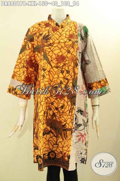 Sedia Produk Pakaian Batik Wanita Gemuk Terbaru, Dress Batik Solo Hadir Dengan Kerah Shanghai Resleting Belakang Dan Lengan 7/8 Berpadu Motif Kombinasi Nan Berkelas, Cocok Buat Acara Formal [DR8801PB-XXL]