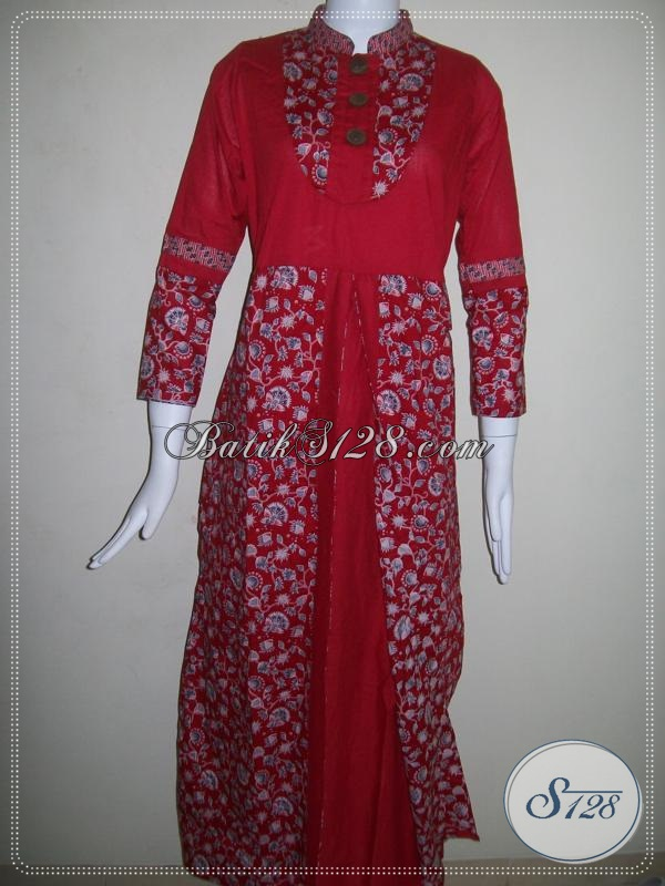 Batik Abaya Wanita Model Pias Depan,Karet Belakang [G006P-M]