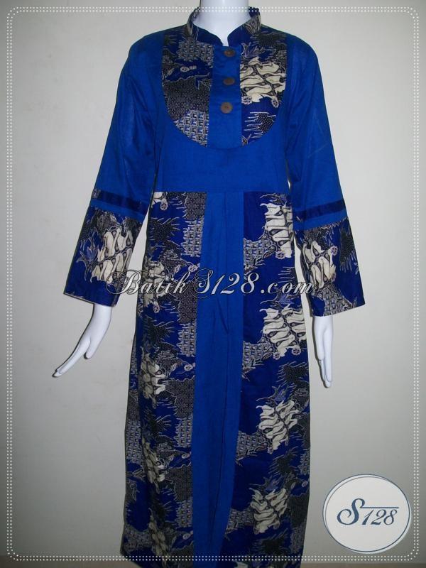 Gamis Batik Printing Harga Murah,Model Batik Modern Dan Trendy Berkaret Belakang [G007P-M]