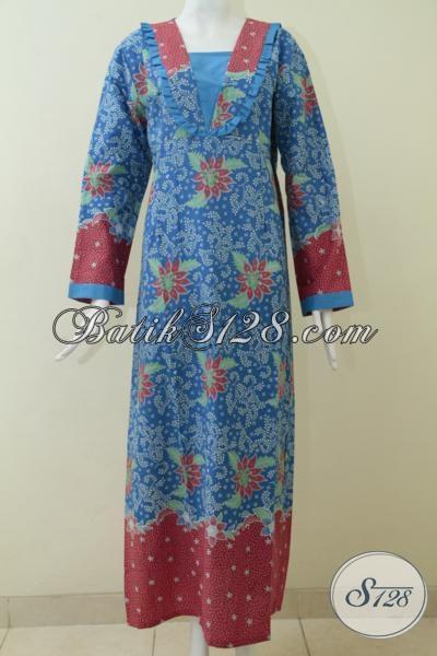 Model gamis batik terbaru warna biru