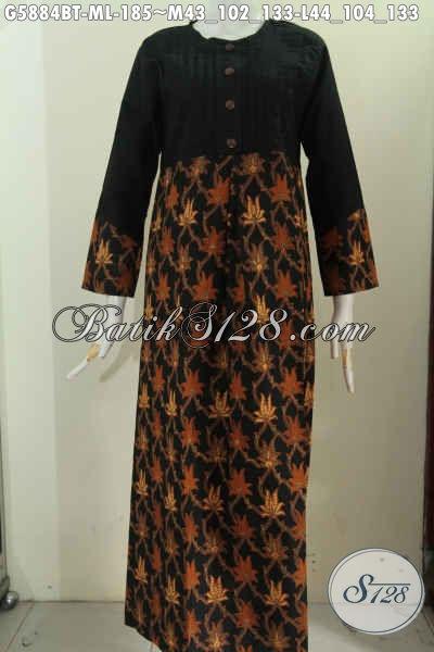 Baju Batik Muslim Untuk Wanita Model Gamis Berbahan Halus Paduan Polos Motif Elegan Cocok Buat Lebaran G5884bt L Toko Batik Online 2021
