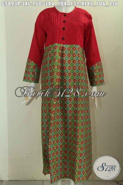 Gamis batik kombinasi kain katun merah