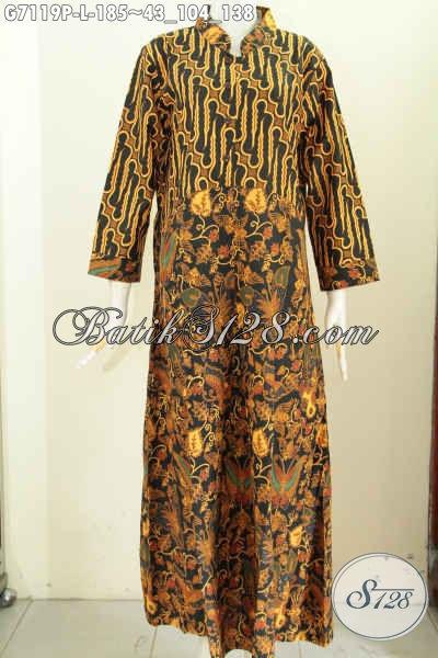 Model Baju Kerja Batik Wanita Berjilbab, Gamis Batik Nan Elegan Kombinasi  2 Motif Bahan Adem Proses Printing Harga 185K [G7119P-L]