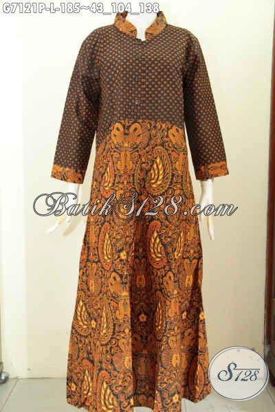 Desain Baju Batik Gamis Wanita Terkini, Abaya Batik Elegan Motif Klasik Bahan Halus Kwalitas Istimewa Proses Printing, Bikin Terlihat Mempesona [G7121P-L]