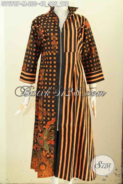 Gamis batik model resleting depan kombinasi kain katun