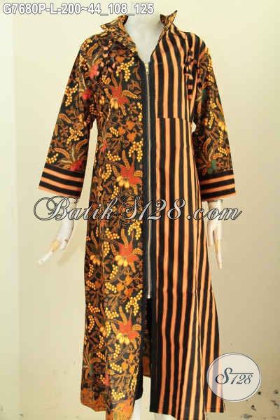 Model gamis batik modern kombinasi slarak (garis-garis) gambar depan